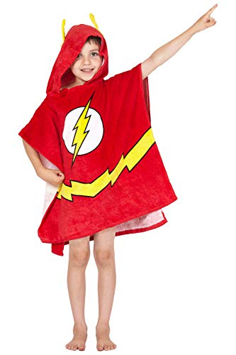 DC Comics 'Flash' Logo Superhero Hooded Bath Beach Swim Poncho Towel, Red, -