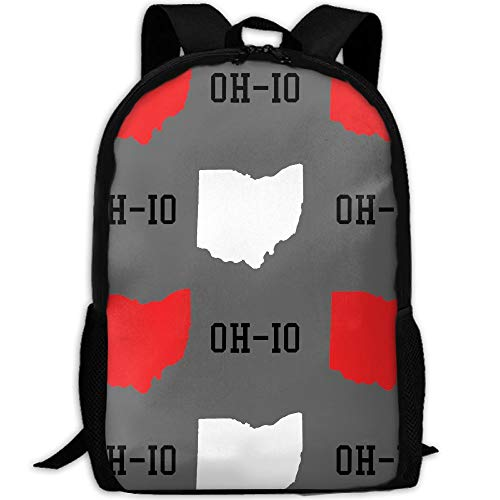 New Oh-io State Gray School Backpack - Unisex Student Stylish Laptop Book Bag Daypack For Teen Boys And Girls by SAPLA