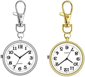 HEMOBLLO 2pcs Vintage Pocket Watches with Large Dial Nurse Watches Brooch Quartz Hanging Watch Gift Watch for Nurse Doctor Elder with Hook (Golden Silver)