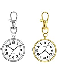 2pcs Vintage Pocket Watches with Large Dial Nurse Watches Brooch Quartz Hanging Watch Gift Watch for Nurse Doctor Elder with Hook (Golden Silver)