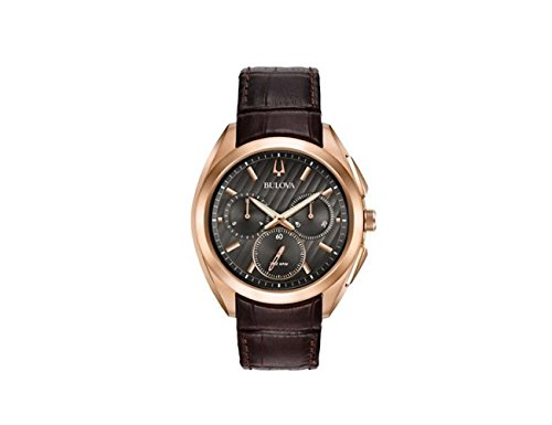 Bulova Men's 45mm CURV Collection Rose Goldtone Leather Strap Watch -