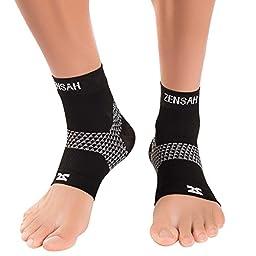 Zensah Plantar Fasciitis Sleeves (Pair) – Plantar Fasciitis Socks, Arch Support, Plantar Fasciitis Brace – Relieve Heel Pain, Arch Support, Large, Black