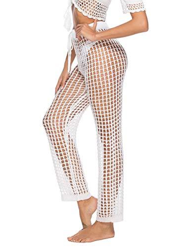 Womens Crochet Swim Cover Up Pants Long Wide Leg Loose Mesh White Lace Pants Cover Up