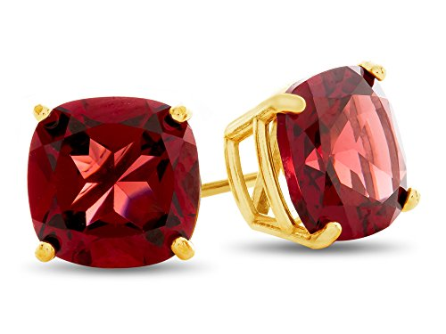 Finejewelers 7x7mm Cushion Garnet Post-With-Friction-Back Stud Earrings 14 kt Yellow Gold