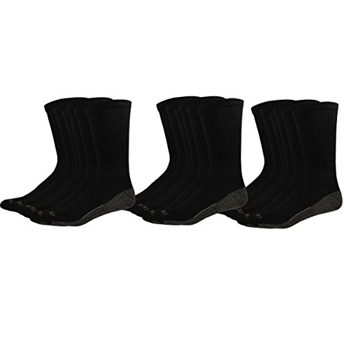 Dickies Men's Multi-Pack Dri-Tech Moisture Control Crew Socks, Black (18, Shoe 6-12 Size: 10-13) ()