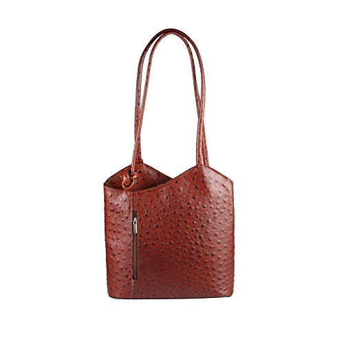 OBC MADE IN ITALY ledertasche-rucksack AVESTRUZ Repujado Bolso Mujer 2 en 1 BOLSA BOLSO de Hombro Bolso de hombro con asas Tableta/iPad aprox. 10-12 pulgadas 27x29x8 cm (BxHxT ) Braun (Strauß)