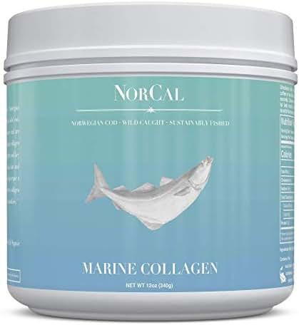 Norcal Organics Marine Collagen Peptide Powder, 16oz   Type 1 and 3, from Norwegian Wild Cod Fish   Natural, Keto, Paleo