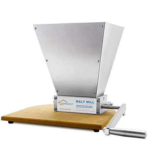 Mill Manual - FERRODAY Malt Crusher Stainless Steel 2 Roller Malt Mill Homebrew Grain Crusher Manual Adjustable Barley Grinder With Wooden Base (medium)