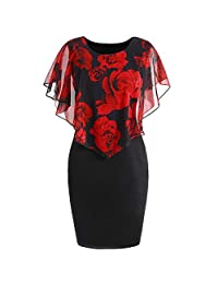 Mini Dress, Limsea 2019 New Womens Casual Plus Size Rose Print Chiffon O-Neck Ruffles Mini Dress