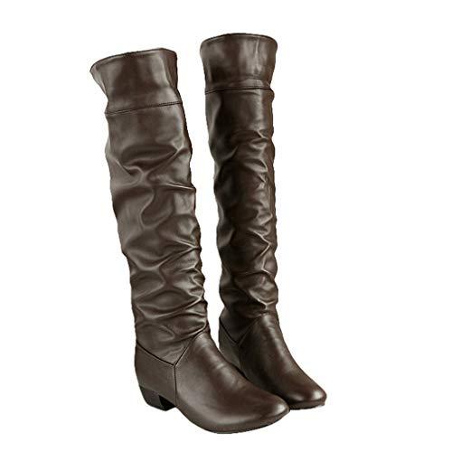 Redonda 35 43 Mujeres De Punta Tamaños Oscuro Cuero Zapatos Sintética Botas Botines Casual Moda Mujer Bloquear Boots Marron Talón Antideslizante Cierre q1OCwz