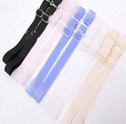 YOYOSTORE 5 Pair Mix Pure Color Silicone Invisibility Adjustable Bra Shoulder Strap Women Girl Dero Suitable For Removable bras Strapless Tops