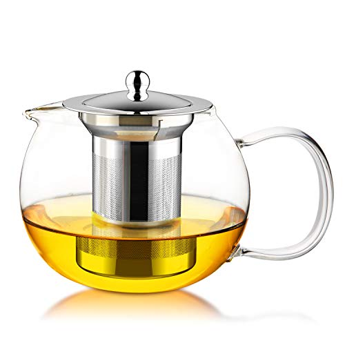 FEBOTE Glass Teapot with Stainless Steel Infuser and Lid, Tea Maker For Blooming Flowering Loose Tea or Bagged Tea (21 Ounce/ 600 ml), Tea Pots Filter with Removable Tea Strainer