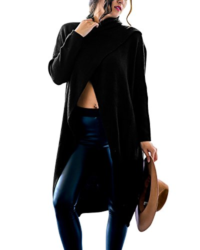 Gikim Women's Casual Plus Size Long Sleeve Chic Loose Knit Turtleneck Pullover Sweater Black M (Poncho Turtleneck)