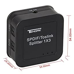 Tendak Digital Optical Audio Splitter SPDIF / Toslink 1 In to 3 Out Powered Amplifier Supports 5.1CH/ LPCM2.0/ DTS/ Dolby-AC3