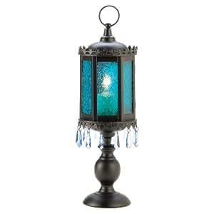 Gifts & Decor Home Decor Exotic Azure Pedestal Lantern Candle Holder