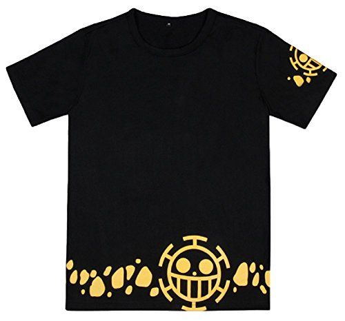 GK-O Anime One Piece Trafalgar Law Short Sleeve T-Shirt Unisex Clothing Black Tee Top (Medium)