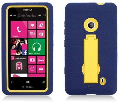 For Nokia Lumia 521 (T-Mobile) Layer Case, 3 in 1 w/Black Stand Navy Blue Skin+Yellow Cover