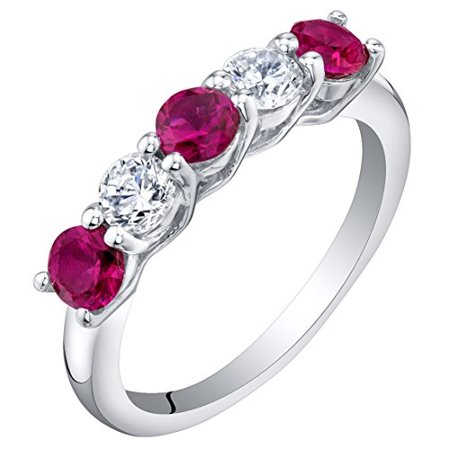 Sterling Silver Created Ruby Five-Stone Trellis Ring Band Size 8