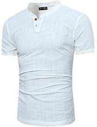 Men's Casual Henley T-Shirt Short Sleeve Grandad Neck Button Top JZA183