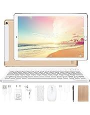 YESTEL Android 10.0 10-inch tablets met 4 GB RAM + 64 GB ROM - WiFi | Bluetooth | GPS, 8000 mAh, met muis | Toetsenbord en omslag - Goud