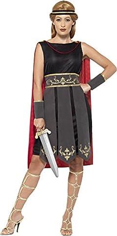 Uk 4-6 Black Ladies Roman Warrior Costume (Roman Kriegerin Kostüm)