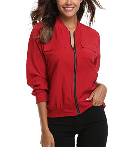 MISS MOLY Women's Wine Red Zip Up Bomber Jacket Lightweight Classic Solid Long Bomber Jacket Coat w 2 Chest Pockets M Size
