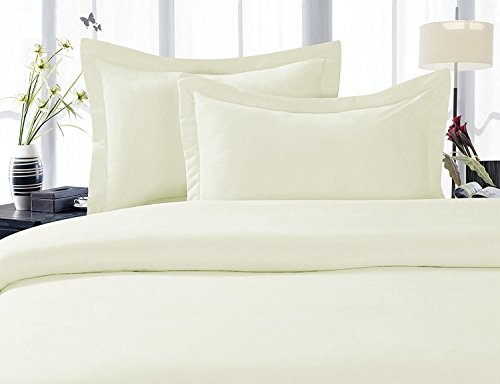 LinenTown 600-Thread-Count Egyptian Cotton Duvet Cover Set - Full/Queen, Ivory (Egyptian Cotton 600 Thread)