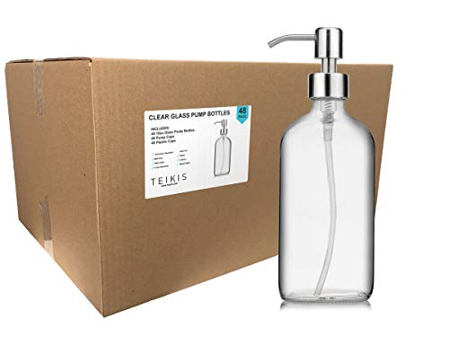 TeiKis 48 Pack Soap Hand Dispenser Glass Bottles Stainless Steel Pumps (16-Oz) Great for Essential Oils, Lotions, Liquid Soaps - Clear Boston Round