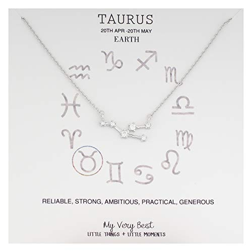 My Very Best Horoscope Constellation Zodiac Sign Necklace (Taurus (Apr 20 - May 20)_Silver Plated Brass)