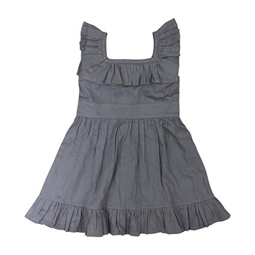 Kate Quinn Organics Baby Girls Ruffle Square Neck Dress, 18-24M (Silver Mink)