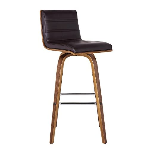 Kitchen Armen Living Vienna Mid-Century Modern-More color and size option 30″ Bar height Barstool Faux Leather Wood Finish, Brown/Walnut modern barstools