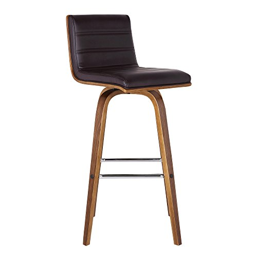 Armen Living LCVIBABRWA26 Vienna 26' Counter Height Barstool in Brown Faux Leather and Walnut Wood Finish
