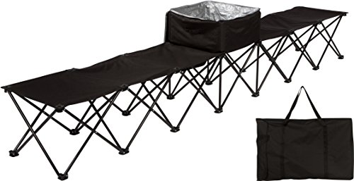 Trademark Innovations 10' Portable 6-Seater Folding Team Sports Sideline Bench with Attached Cooler (Black)