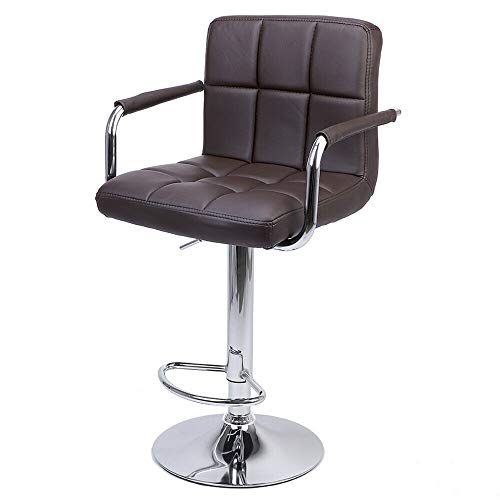 Nual_shop 2 PCS Swivel Leather Chair Adjustable Bar PU Stools Office with Armrest Coffee by Nual_shop (Image #3)