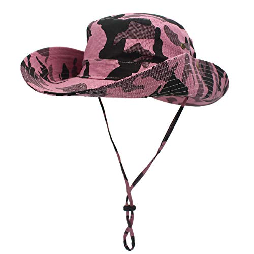 Outerdreamer Wide Brim Foldable Breathable Safari Fishing Hats Outdoor Boonie Hat UV Protection Foldable Military Camouflage HatSummer Sun Hat Cap for Men&Women (Pink-Camo)