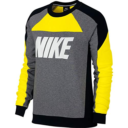 W Yellow Sweatshirt Flc Opti Mujer bla Cb Nike Crew Heather carbon Nsw dwSBS