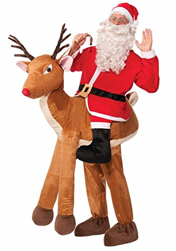 Forum Novelties Men's Santa Ride-A-Reindeer Adult Costume, Multi, One Size (Reindeer Adult Costume)
