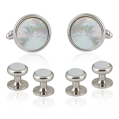 Tuxedo Pearl (Cuff-Daddy Silver and Mother of Pearl Tuxedo Cufflinks Studs Formal Set with Presentation Box)