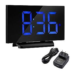 TOPELEK Alarm Clock[Upgraded Model], 5'' LED Display Digital Alarm Clock with Curved-Screen and Dimmer, 3 Adjustable Sounds, Snooze Function, 12/24H, Bedside Alarm Clock for Kids, Women, Men, Blue