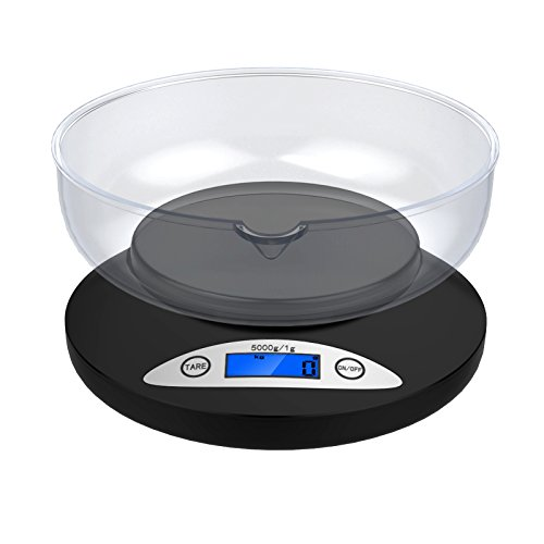 Digital Kitchen Scale, Ascher 5000g Electronic Cooking Food Scale with Back-Lit LCD Display, Mode and Tare Features 5000 x 1g (2 AA Batteries Included)