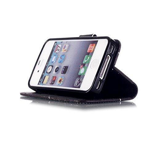 iPhone 4 / 4S Coque , Apple iPhone 4 / 4S Coque Lifetrut® [ [Don't Touch My Phone] ] [Stand Feature] Colorful Case Mignon PU cuir portefeuille en cuir intégré dans la carte Slots Flip Cover avec drago