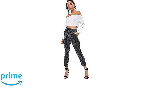 ZAFUL Mujeres Pantalones con Cordones a Rayas Pantalones de ...