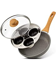 Eggssentials Poached Egg Maker - 4 Cups Egg Poacher Pan with Granite Nonstick Coating Frying Pan and Cups