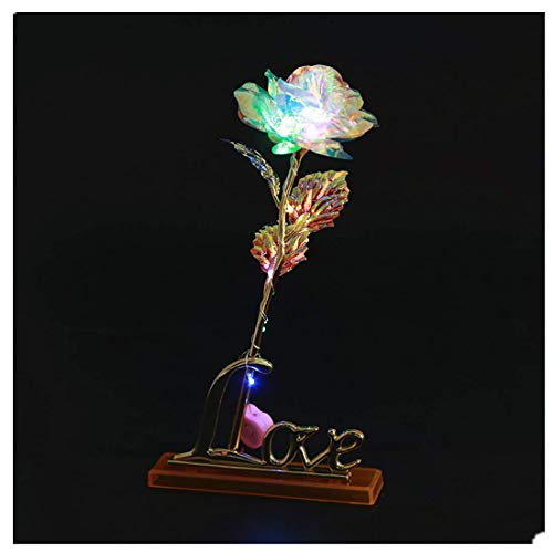 Vivila Colorful Galaxy Rose with Light+Love Base+Luxury Gift Box+Bag, Romantic Tabletop Decoration