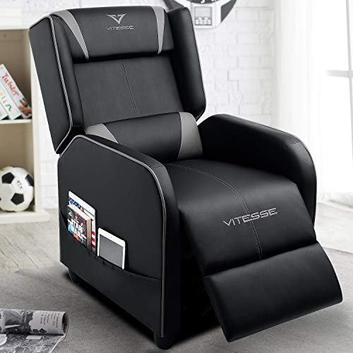 VIT Gaming Recliner Chair Racing Style Single PU Leather Sofa Modern Living Room Recliners Ergonomic Comfortable Home Theater Seating (Grey) (And Sofa Chair Grey)