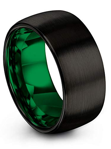 ion Tungsten Wedding Band Ring 10mm for Men Women Green Interior Black Exterior Dome Brushed Polished Size 11.5 ()