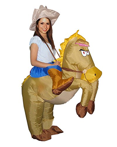 Adult Kids Inflatable Dinosaur/Ostrich/Unicorn/Horse Fancy Dress Party Costume Cloth Suit (Horse)
