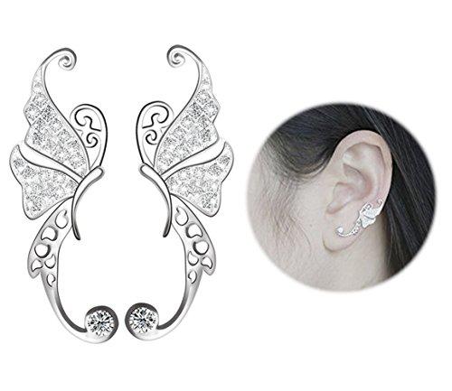 (S925 Sterling Silver Ear Climber Crawler Cuff Earrings Butterfly Diamond Zircon Stud Earrings)