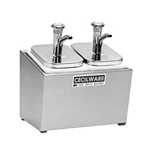Grindmaster Cecilware 244M Metal Pumps Condiment Rail with 2 Pump with Chrome Knob/2 Covers/2 Crushed Fruit Jars/Rails