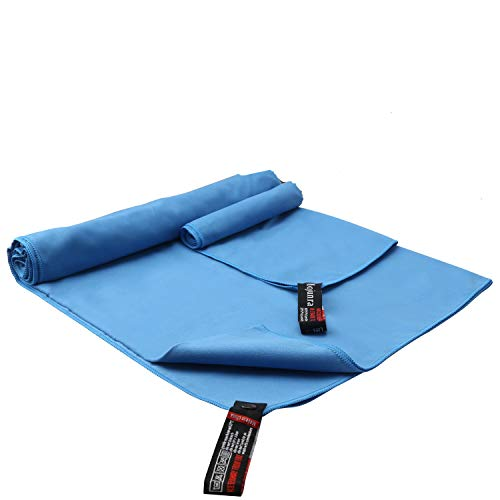 Mojunra Microfiber Sports & Travel Towel Set of 2 Beach Towels Super Absorbent Fast Drying Blue